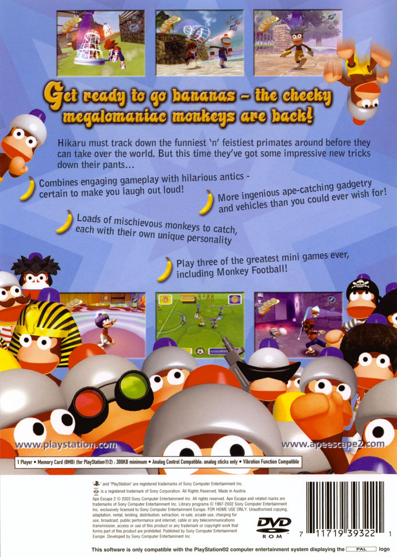 Ape Escape 2 PlayStation 2 Back Cover