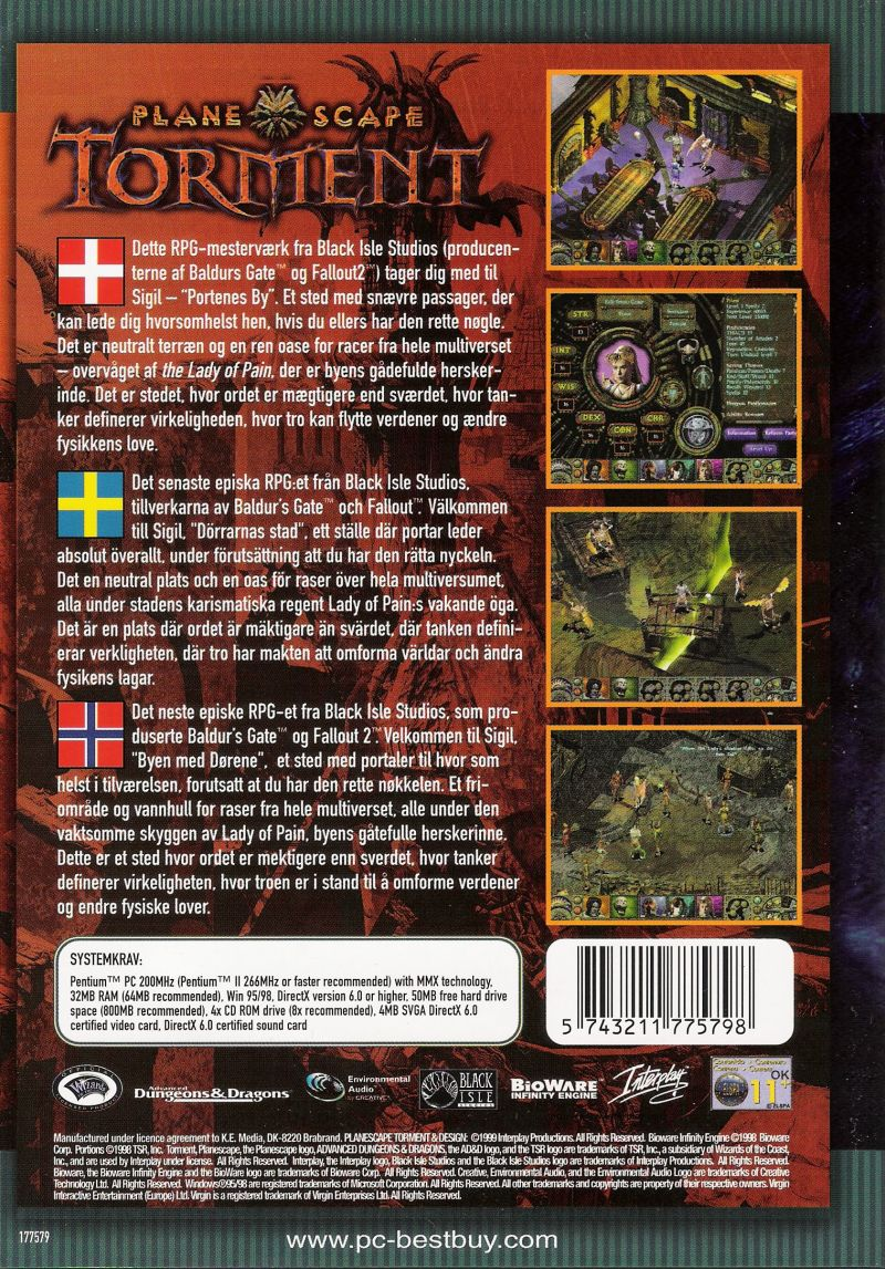 Planescape: Torment Windows Back Cover