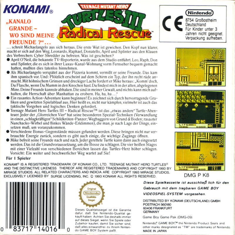 Teenage Mutant Ninja Turtles III: Radical Rescue Game Boy Back Cover