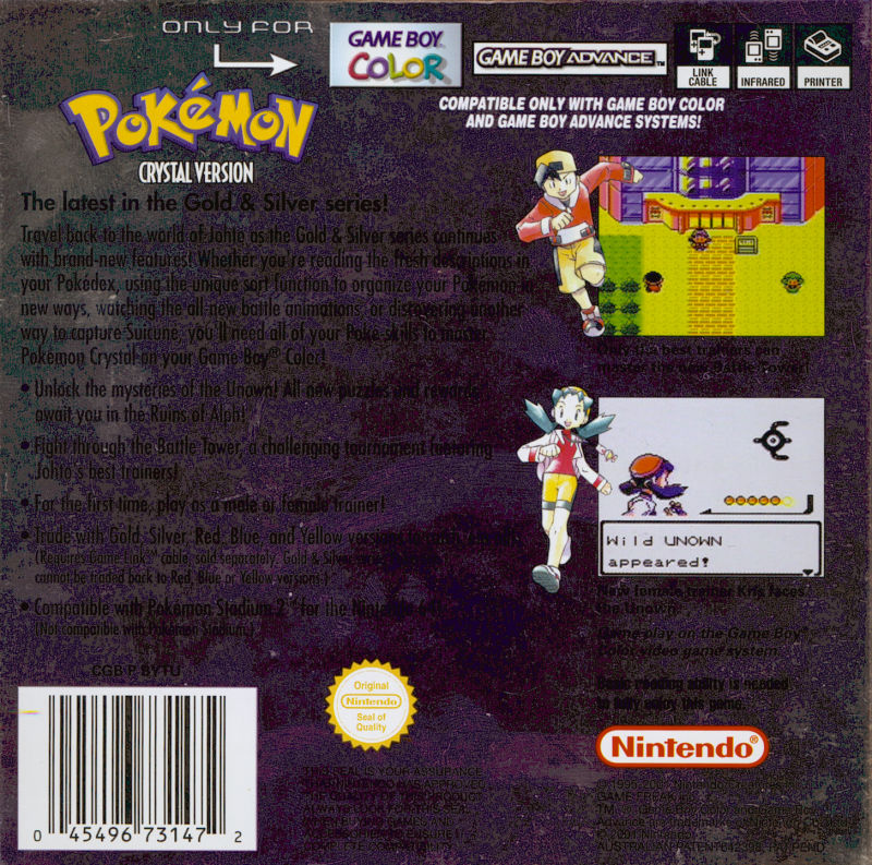 Pokémon Crystal Version Game Boy Color Back Cover