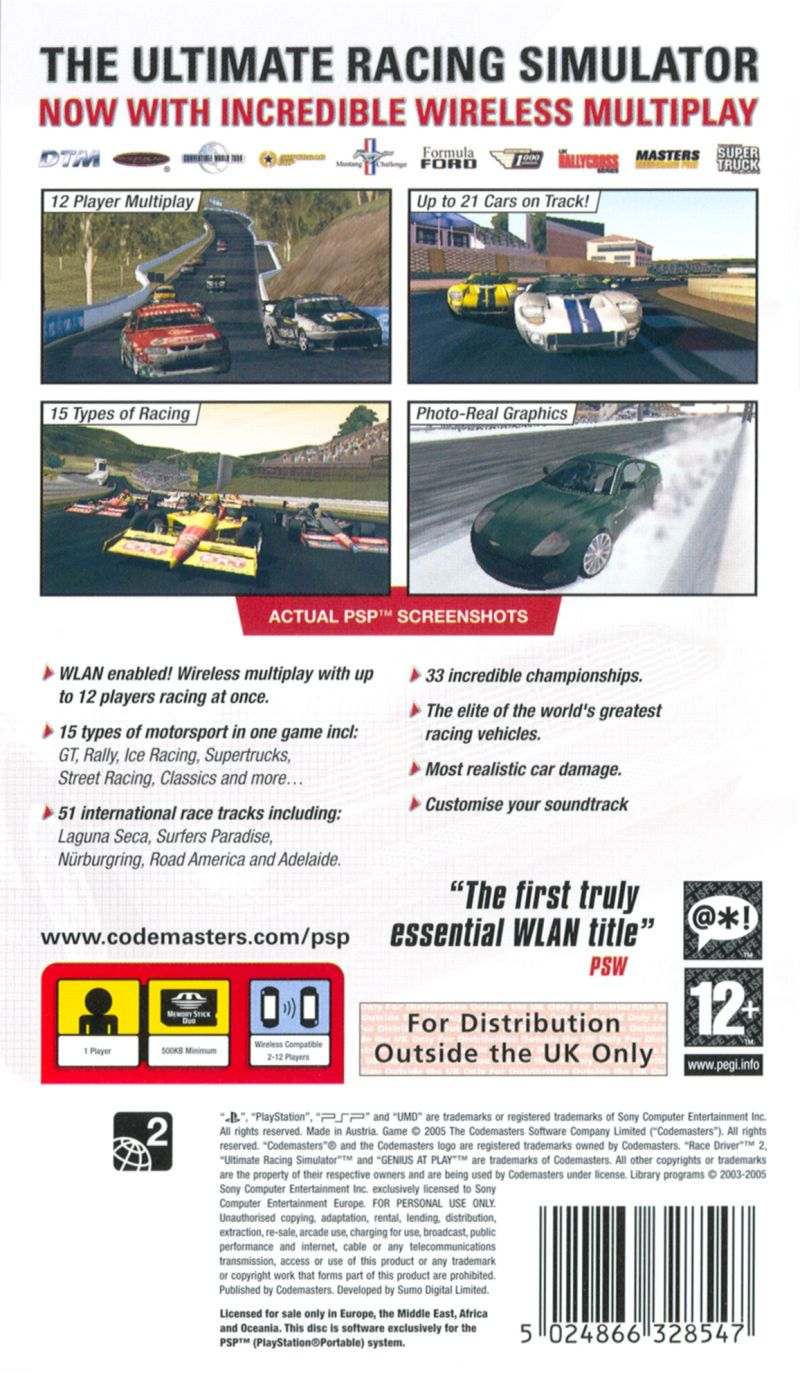 TOCA Race Driver 2 PSP Back Cover