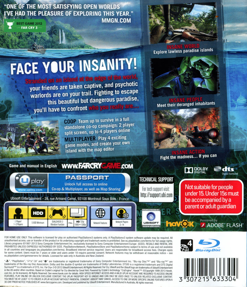 Far Cry 3 2012 Playstation 3 Box Cover Art Mobygames