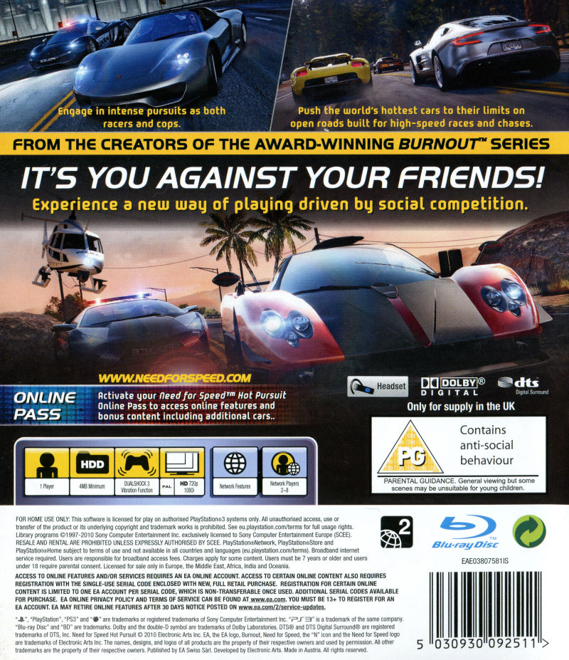 Need For Speed Hot Pursuit 2010 Playstation 3 Box Cover Art