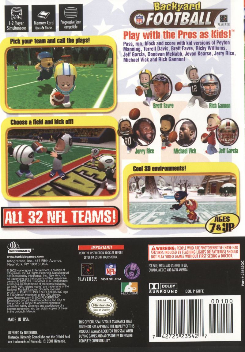 Backyard Football GameCube Back Cover