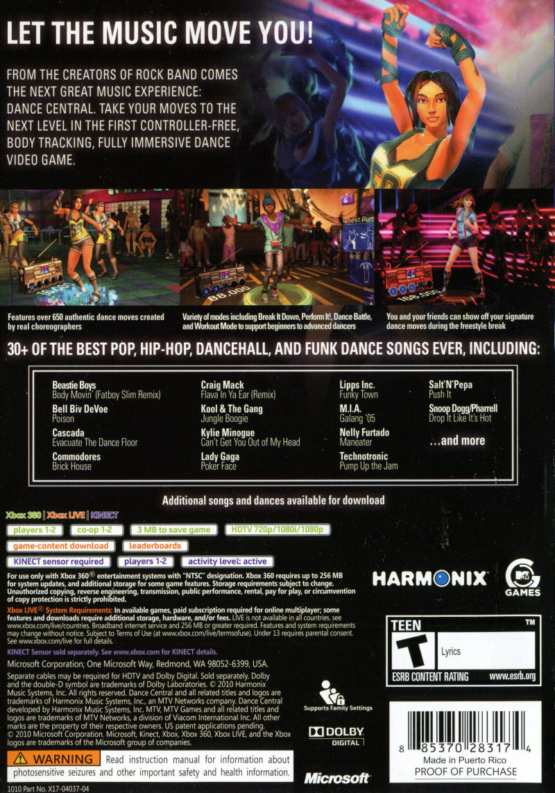 Dance Central (2010) Xbox 360 box cover art - MobyGames
