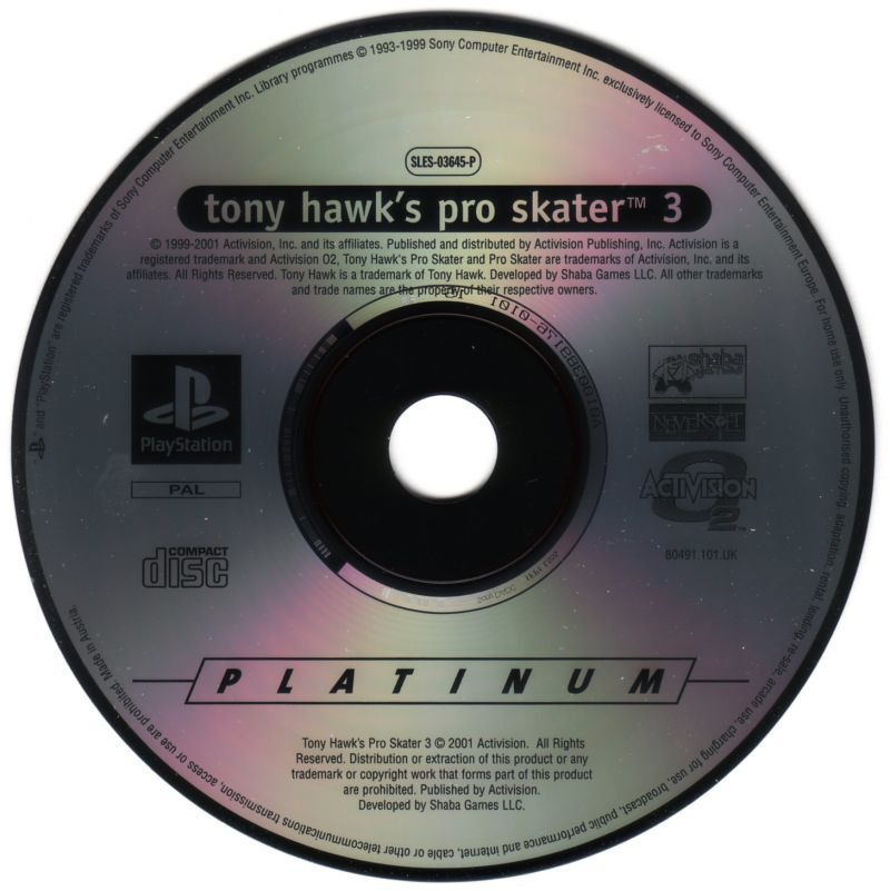 Tony Hawk's Pro Skater 3 PlayStation Media