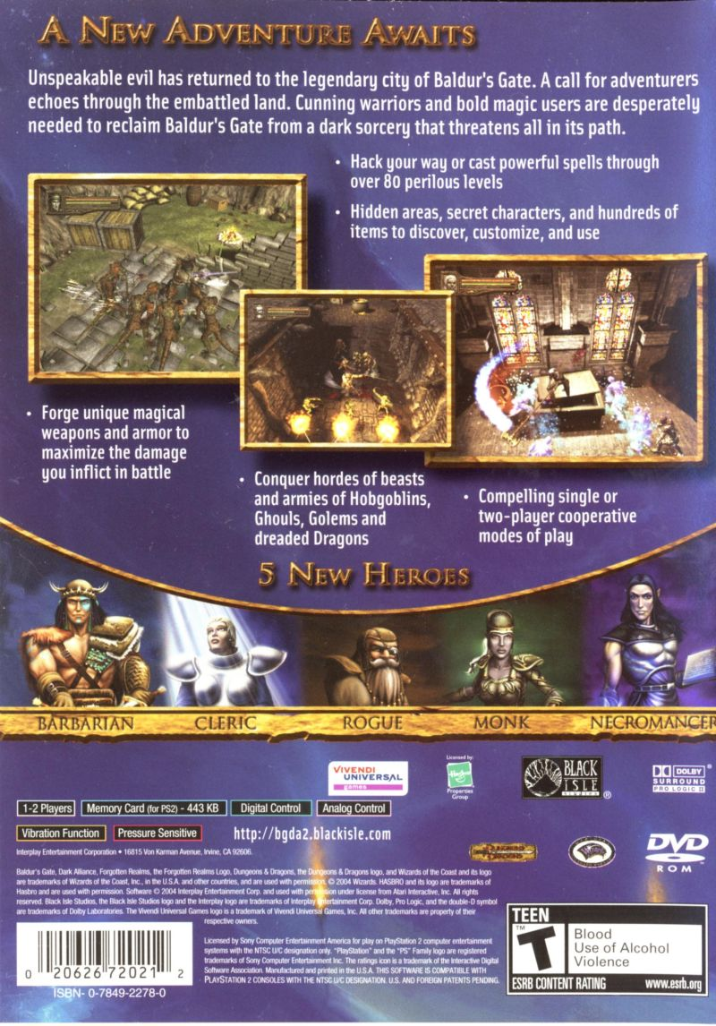 Baldur's Gate: Dark Alliance II PlayStation 2 Back Cover