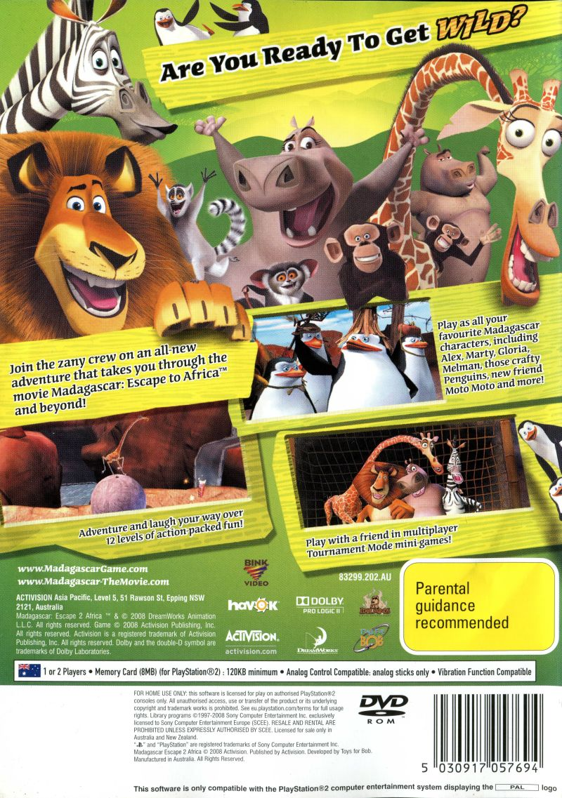 Madagascar Escape 2 Africa 2008 Playstation 2 Box Cover Art Mobygames