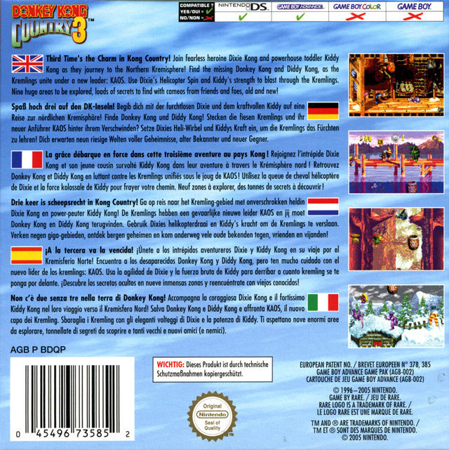 Donkey Kong Country 3: Dixie Kong's Double Trouble! Game Boy Advance Back Cover