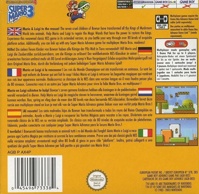 Super Mario Advance 4: Super Mario Bros. 3 Game Boy Advance Back Cover