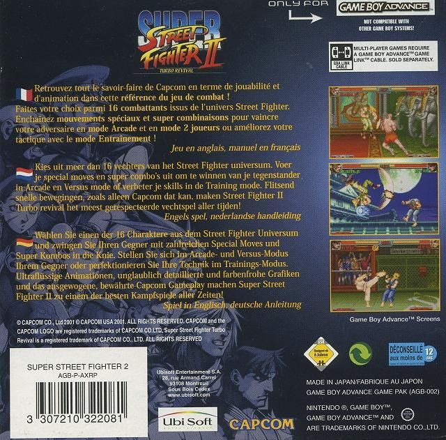 Super Street Fighter II: Turbo Revival Game Boy Advance Back Cover