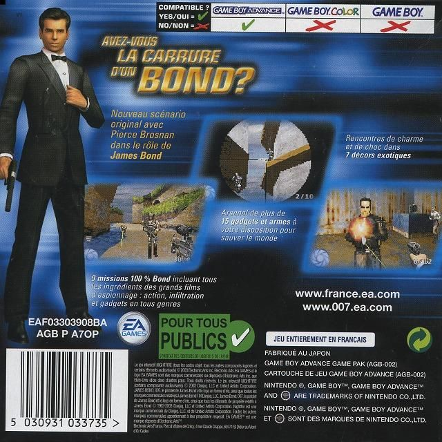 007: Nightfire Game Boy Advance Back Cover