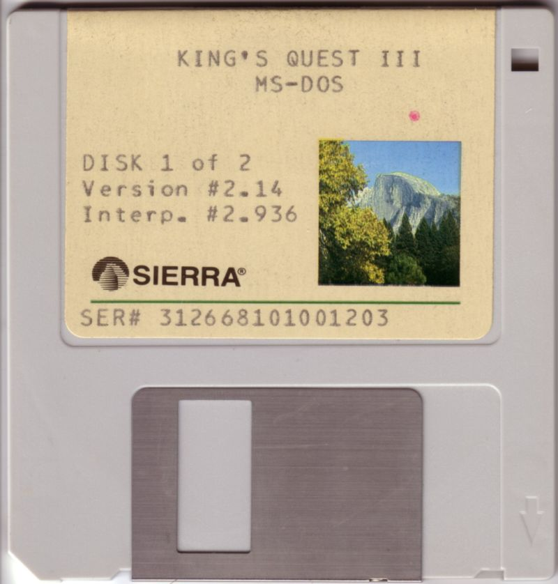King's Quest III: To Heir is Human DOS Media Disk 1/2