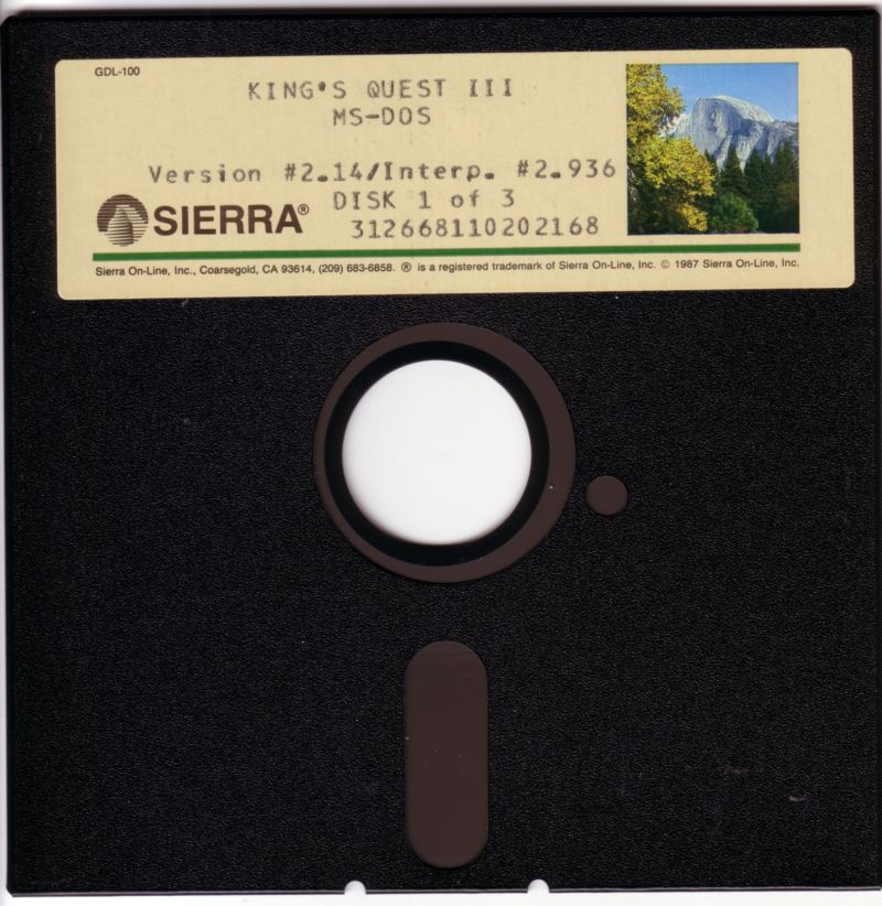 King's Quest III: To Heir is Human DOS Media Disk 1/3