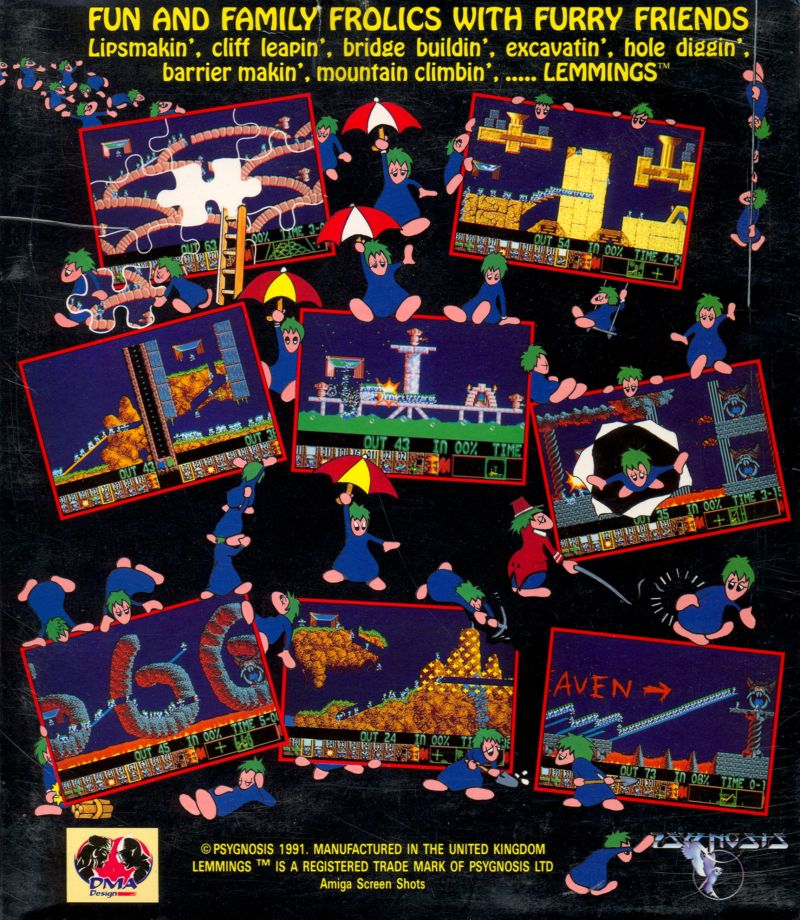 Lemmings Amiga Back Cover