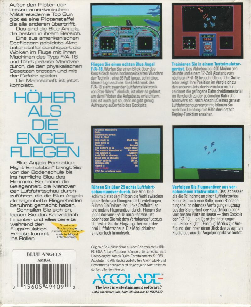 Blue Angels: Formation Flight Simulation Amiga Back Cover