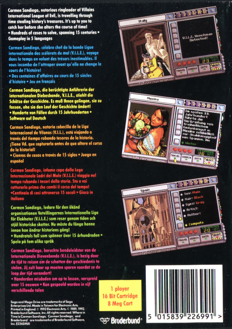 Where in Time Is Carmen Sandiego? Genesis Back Cover