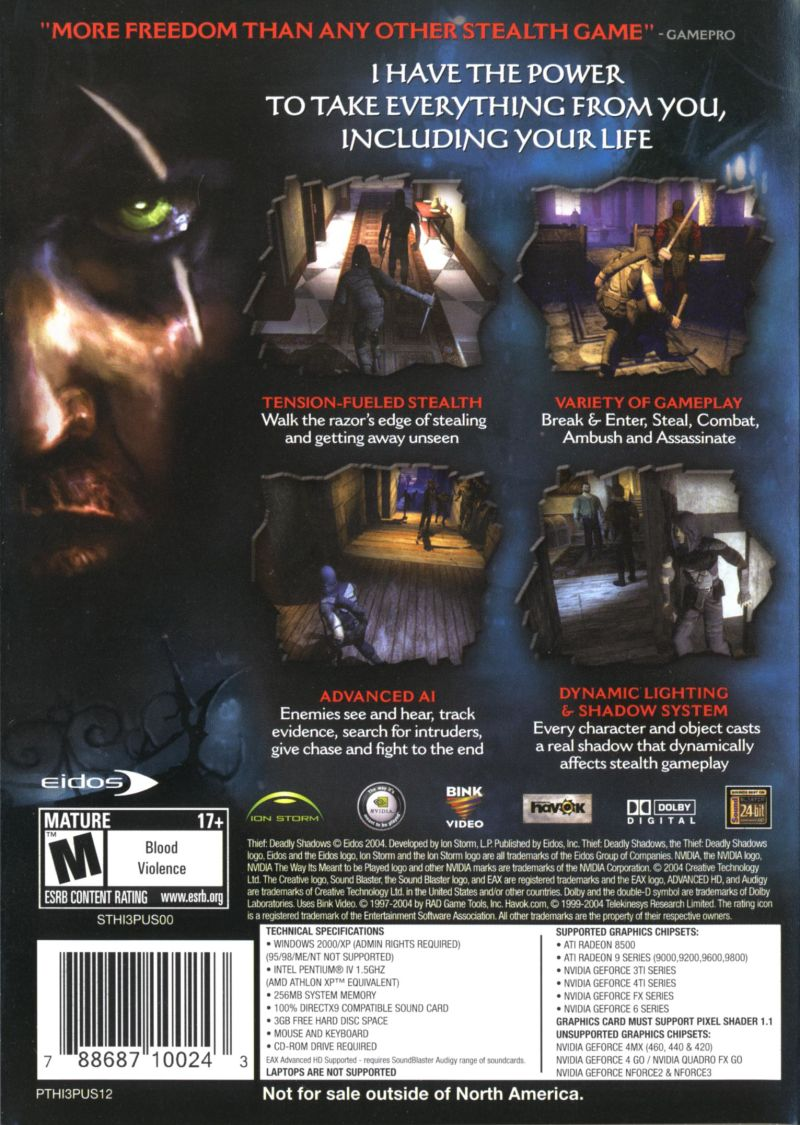 Thief: Deadly Shadows Windows Other Keep Case Back