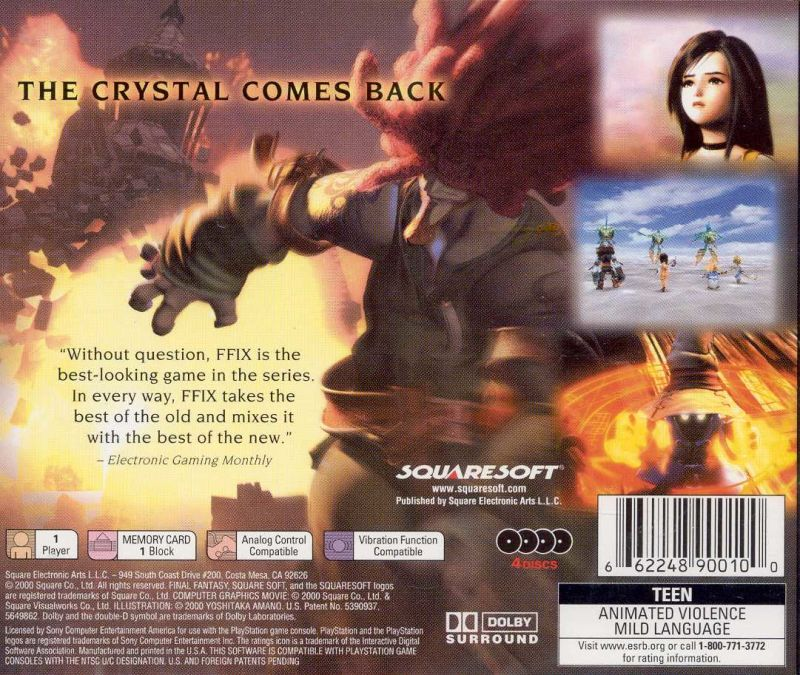 Final Fantasy IX PlayStation Back Cover