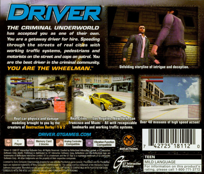 Driver 1998 playstation box cover art mobygames for 2 1 2 box auto