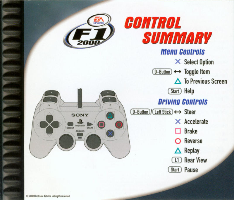 F1 2000 PlayStation Inside Cover