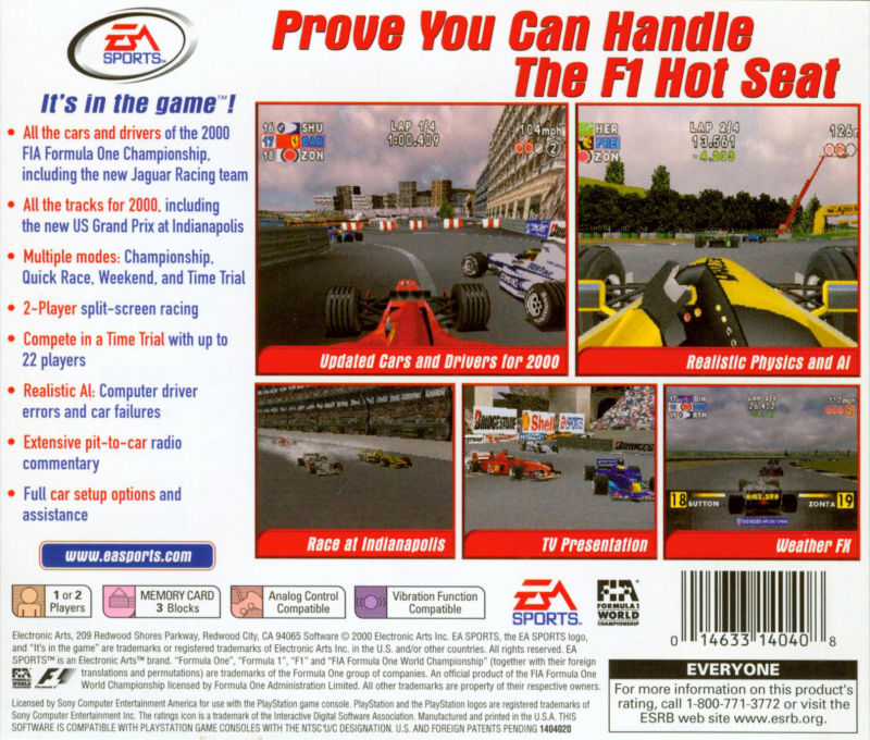 F1 2000 PlayStation Back Cover