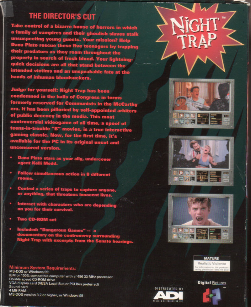 Night Trap DOS Back Cover