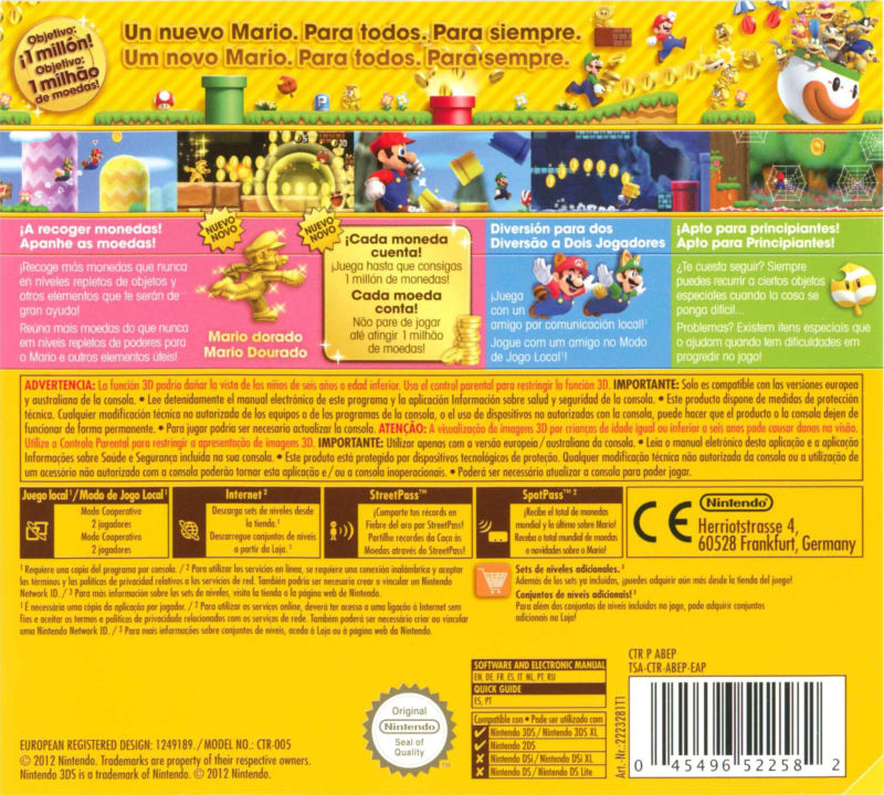 New Super Mario Bros. 2 Nintendo 3DS Back Cover