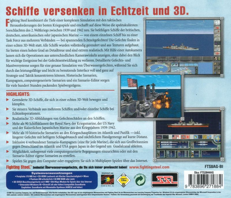 Fighting Steel: World War II Surface Combat 1939-1942 Windows Other Jewel Case - Back