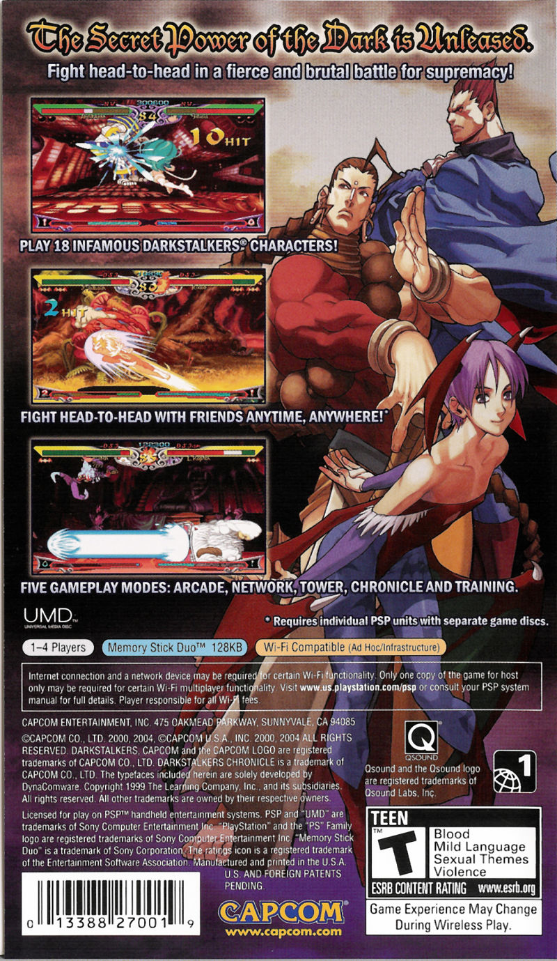 Darkstalkers Chronicle: The Chaos Tower PSP Back Cover