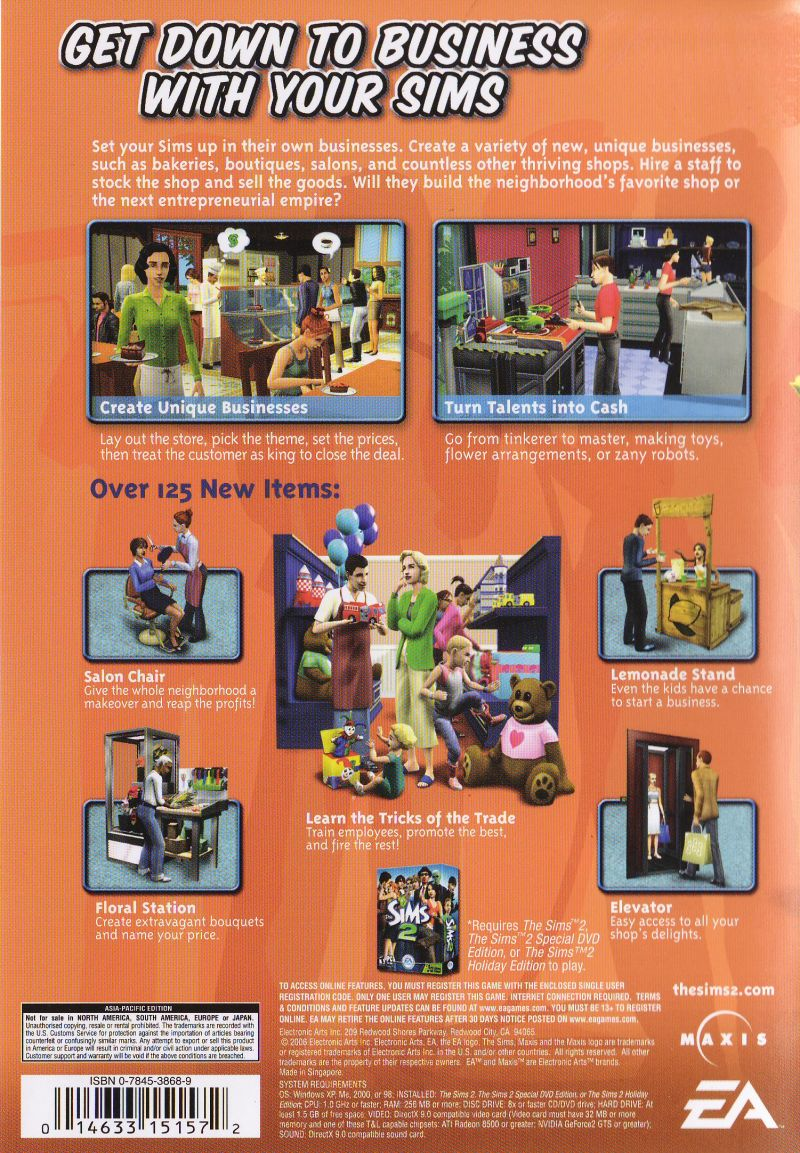 The Sims 2: Open for Business Windows Back Cover