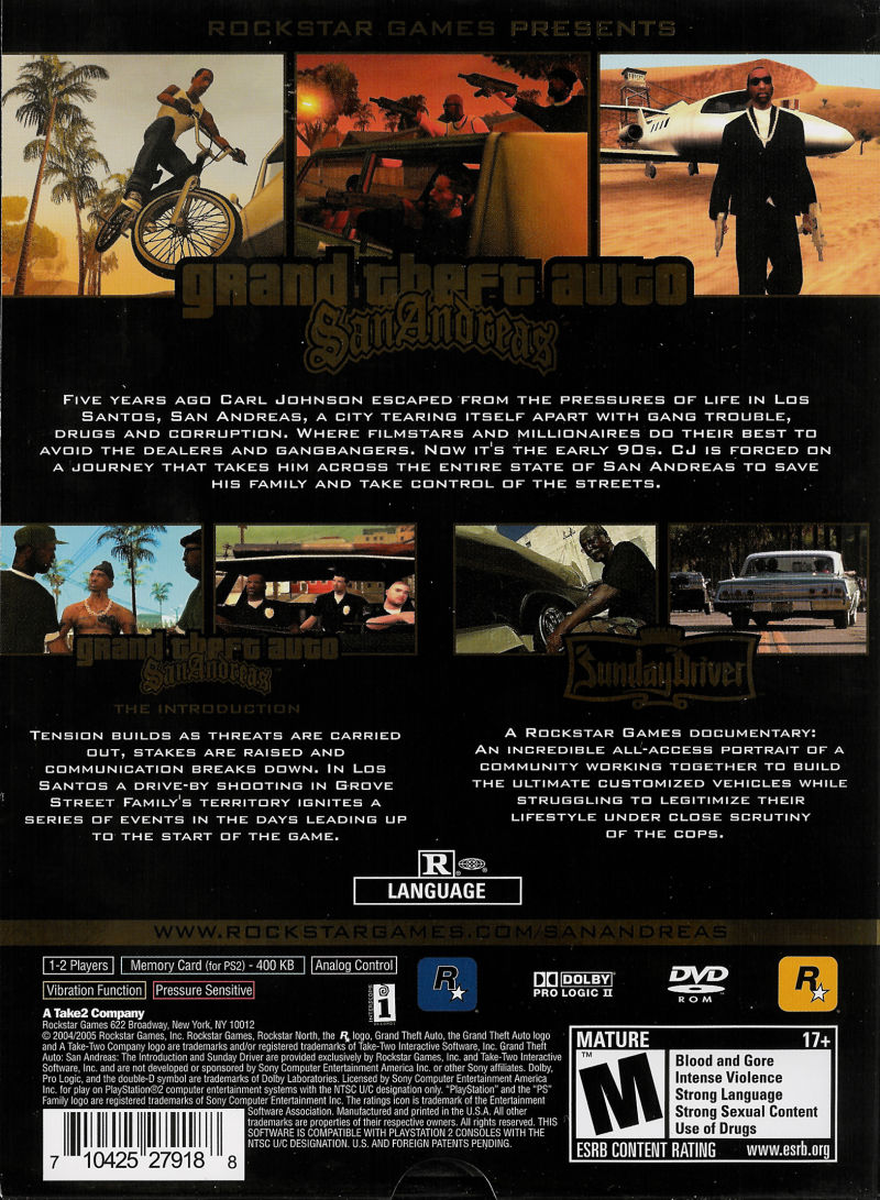Grand Theft Auto: San Andreas - Special Edition PlayStation 2 Back Cover