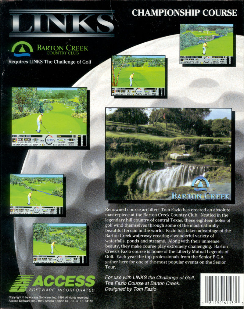 Links: Championship Course - Barton Creek DOS Back Cover