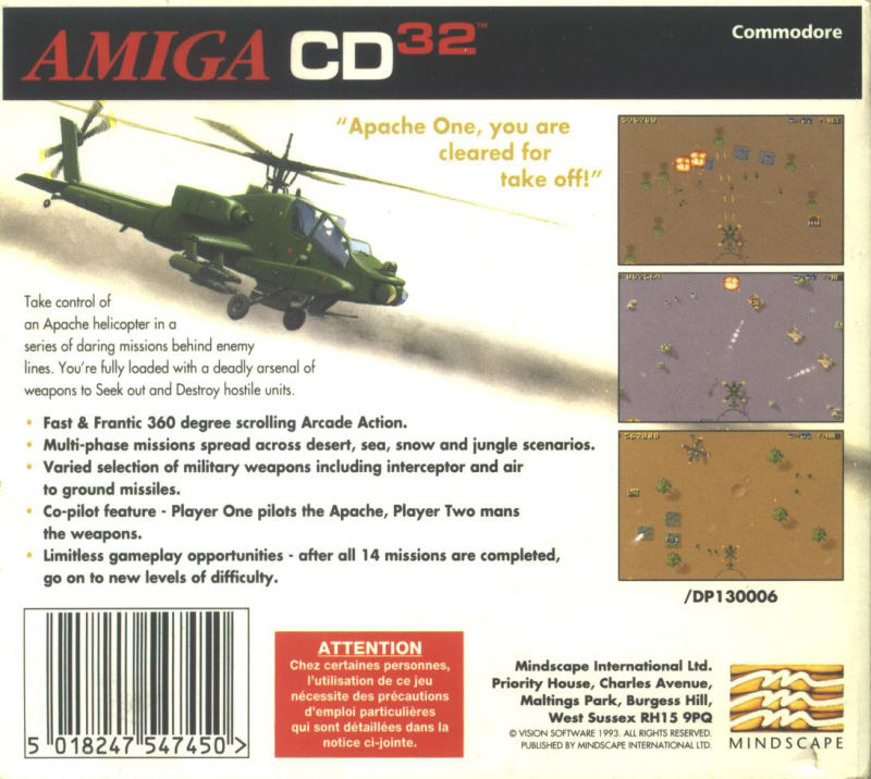 Seek and Destroy Amiga CD32 Back Cover