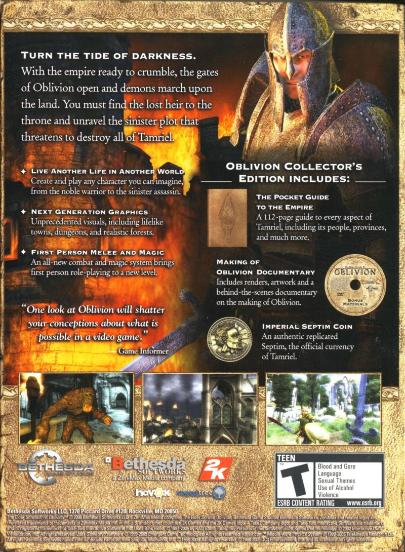 The Elder Scrolls IV: Oblivion (Collector's Edition) Windows Back Cover