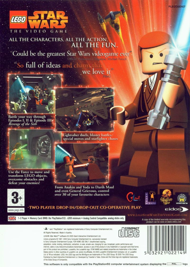 LEGO Star Wars: The Video Game PlayStation 2 Back Cover