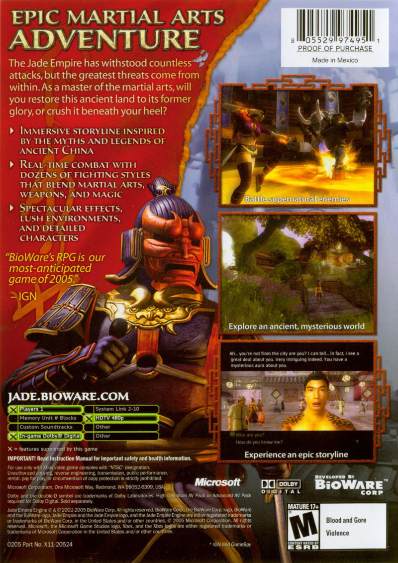 Jade Empire Xbox Back Cover