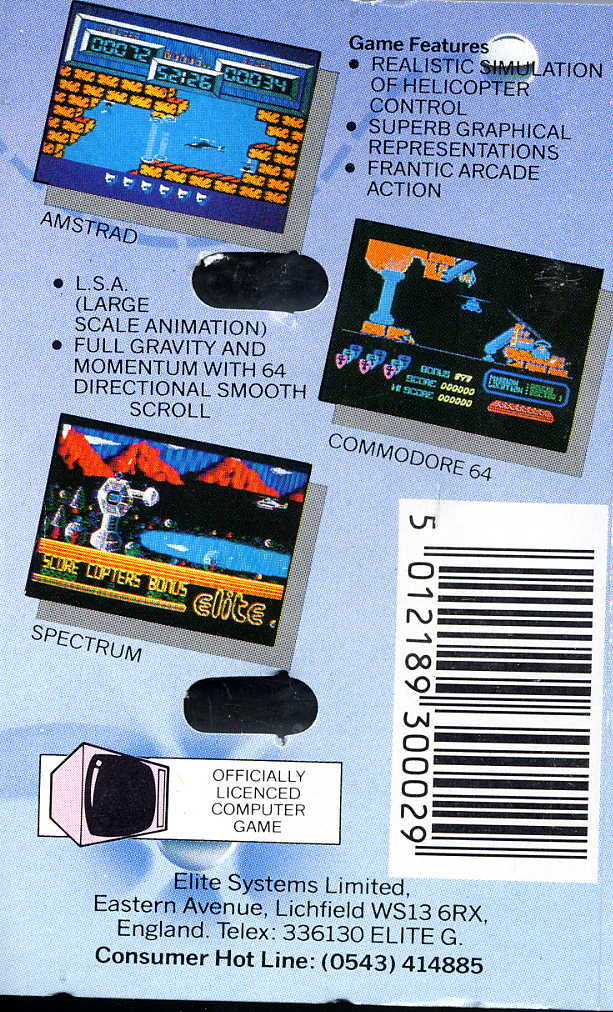 Airwolf Commodore 64 Back Cover