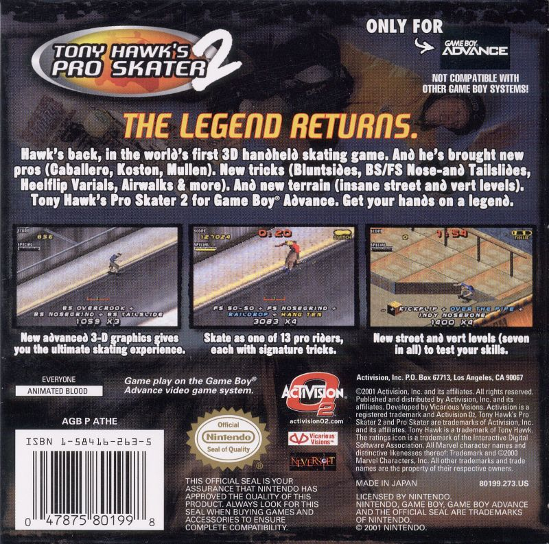 Tony Hawk's Pro Skater 3 for Game Boy Advance Reviews ...