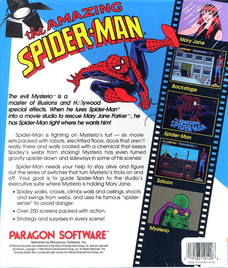 The Amazing Spider-Man Commodore 64 Back Cover