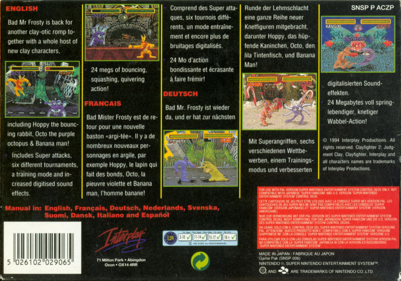 Clay Fighter 2: Judgement Clay SNES Back Cover