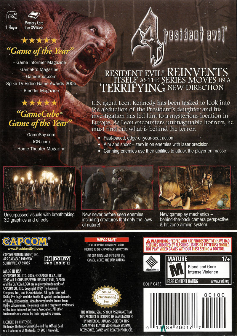 Resident Evil 4 GameCube Back Cover