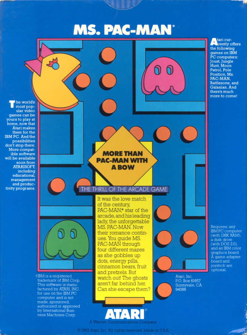 Ms. Pac-Man PC Booter Back Cover