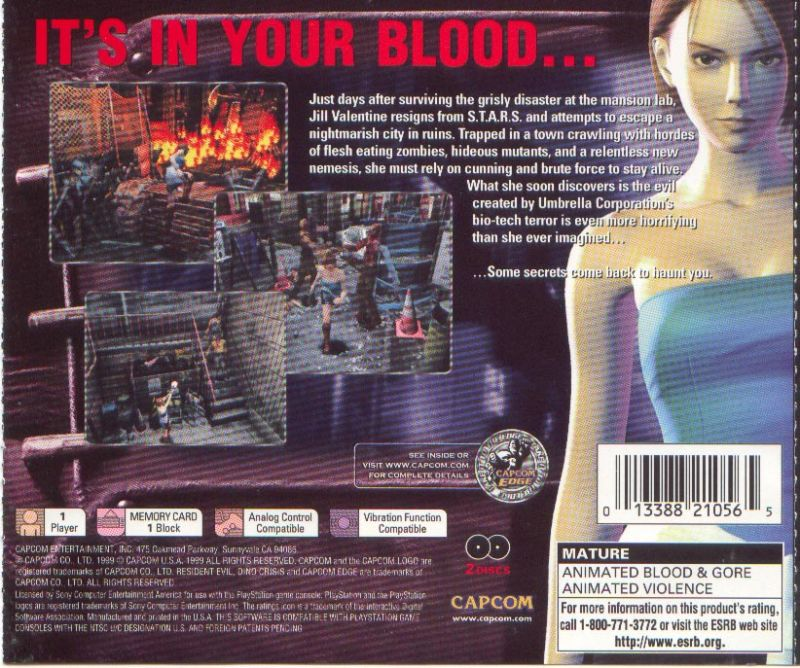 Resident Evil 3: Nemesis PlayStation Back Cover