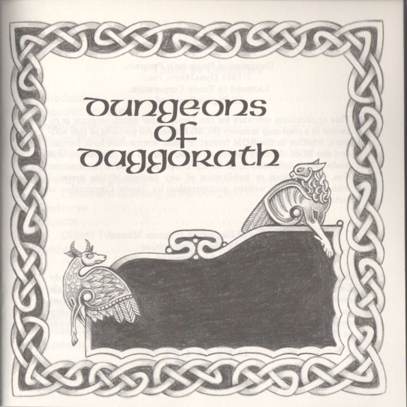 Dungeons of Daggorath TRS-80 CoCo Inside Cover