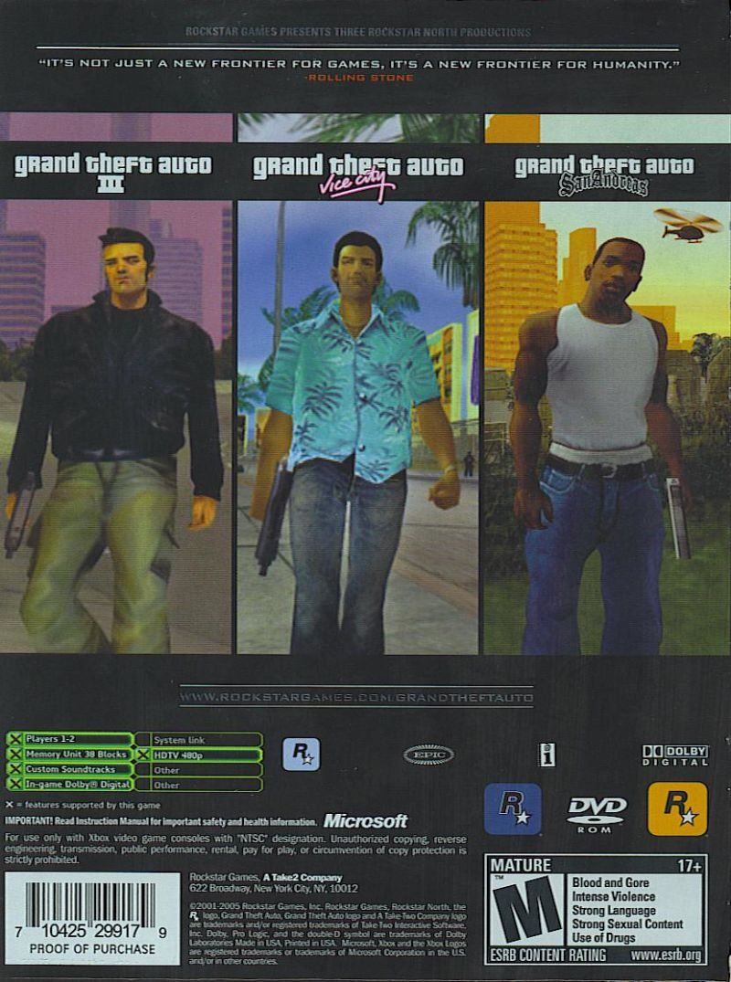 Grand Theft Auto: The Trilogy Xbox Back Cover