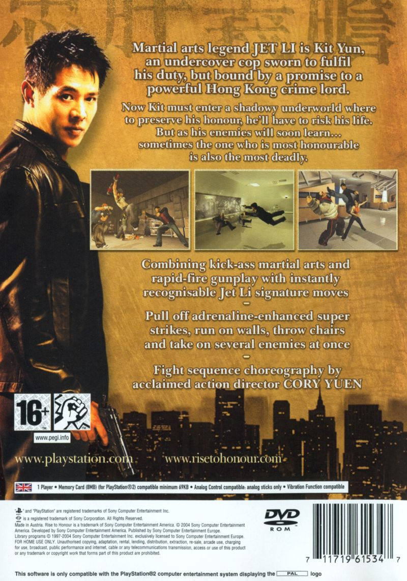 Rise to Honor PlayStation 2 Back Cover