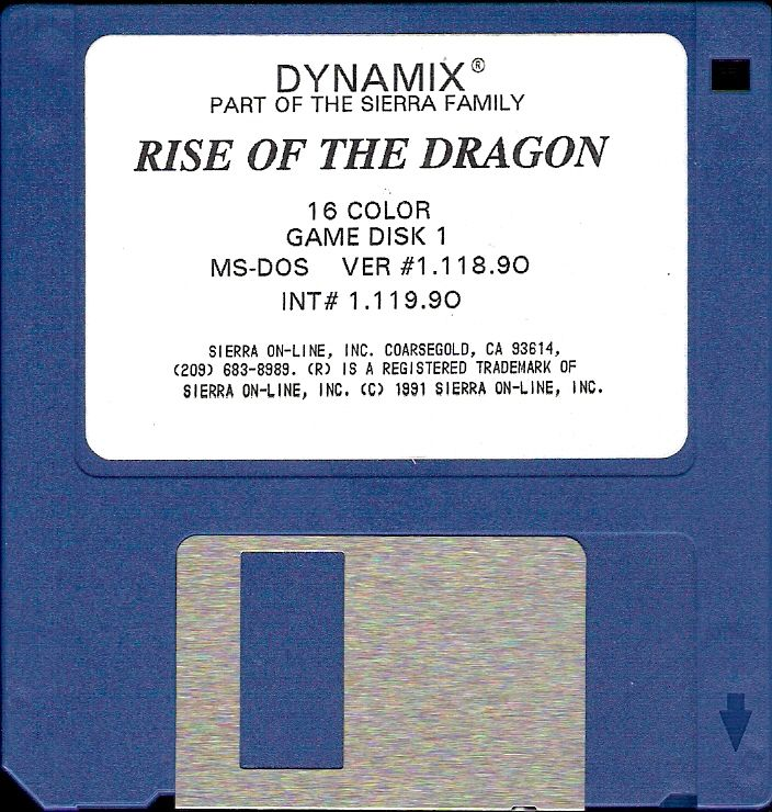 Rise of the Dragon DOS Media Disk 1/5