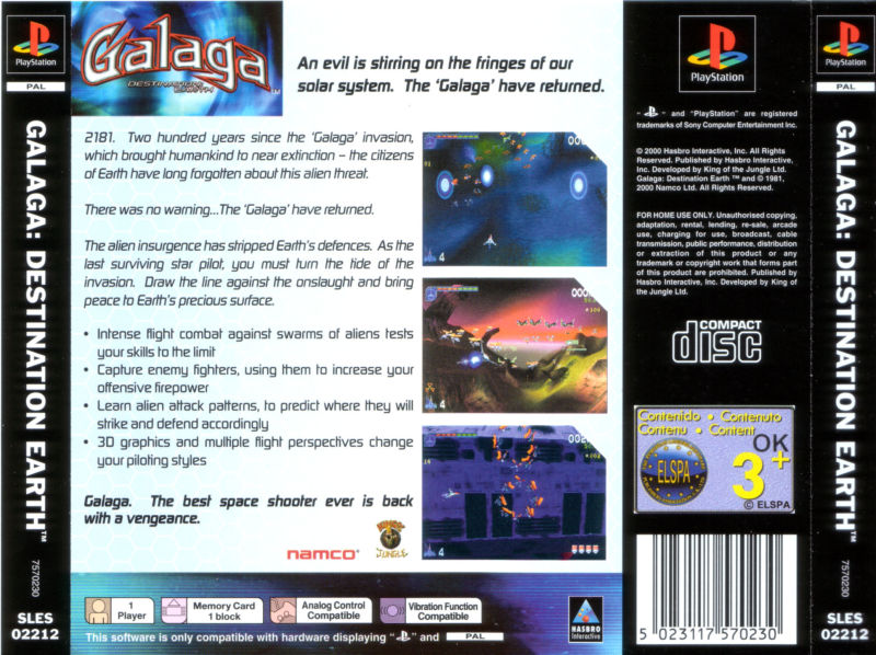 Galaga: Destination Earth PlayStation Back Cover