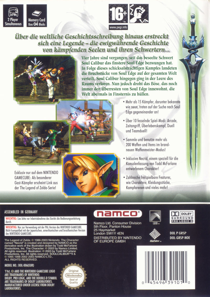SoulCalibur II GameCube Back Cover